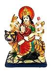 TIQ Marble Finish Goddess Maa Durga Devi Idol Statue Sherawali MATA Rani Spiritual Puja Vastu Showpiece Fegurine - Religious Murti Pooja Murti Gift Item 6 Inch