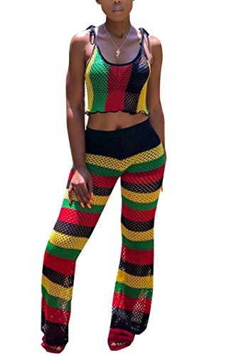 Womens Sexy Rainbow Stripe Print Bodycon Strap Backless 2 Piece Outfits Tube Crop Top +Wide Leg Pants Jumpsuits Set