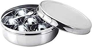 Stainless Steel 7 Spice Container Masala Box for Kitchen air Tight and Dishwasher Safe 500 ml