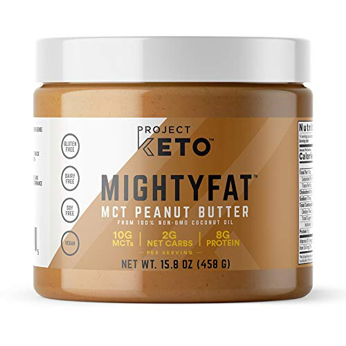 New! Project Keto MIGHTYFAT MCT Peanut Butter (15.8 oz) | Perfect Low-Carb Keto Snack; Made with 100% Non-GMO Coconut Oil; Vegan, Gluten Free, Dairy Free, Soy Free; No Artifical Ingredients