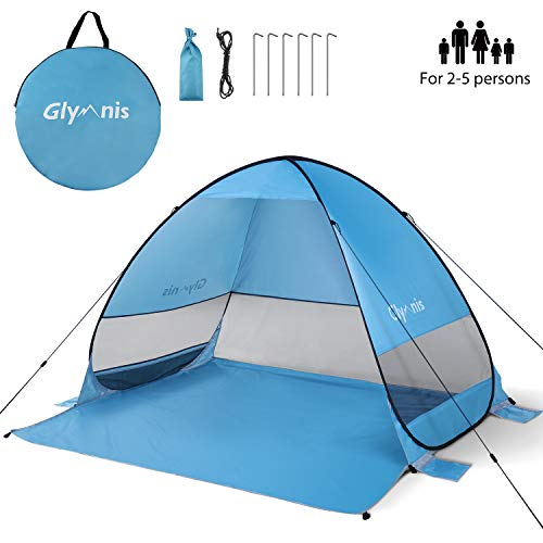 Glymnis Pop Up Beach Tent 2-5 Person Portable Automatic Sun Shelter UV Protection Windproof for Outdoor Camping Fishing Picnic