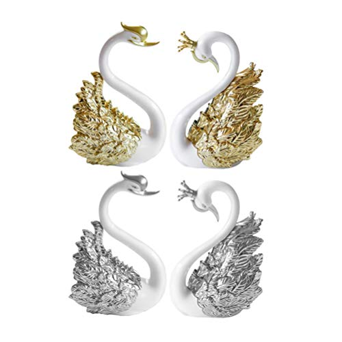Amosfun Swan Cake Topper Crown Swan Figurine Sculpture Wedding Cake Ornament Car Dashboard Decorations for the Office at Home 2 Pairs