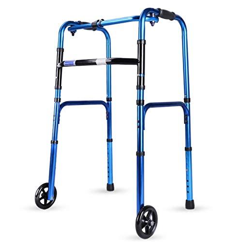 Walker, Rolling Walkers Heavy-Duty Folding Walker with Wheels for Seniors, Adults, Extra Wide Front Wheel Walker (2 4-Inch wheels), Sized for Adults up to 300 lbs,Blue