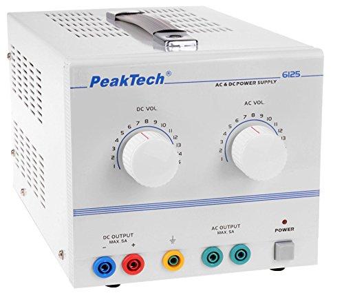 PeakTech DC AC Labornetzteil - Labornetzgerät 1-15V / 5A, linear, 1 Stück, P 6125