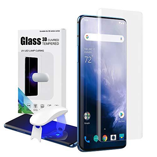 Foluu Protector de pantalla Oneplus 7 Pro, borde curvado Full HD [vidrio templado UV líquido] [Solución exclusiva para huellas dactilares ultrasónicas] Kit de fácil instalación para Oneplus 7 Pro 2019