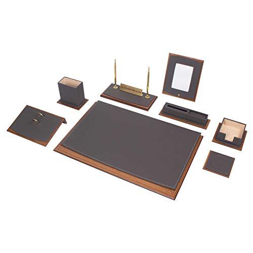 Lussuoso Star 11 pezzi di lusso pezzo scrivania scrivania set scrivania pad con il nome desiderato in legno targhetta in pelle in 5 colori, Colorazione:Grigio