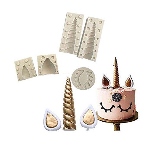 Molde para cuerno de unicornio de silicona para decoración de tartas de fondant/pasta de...