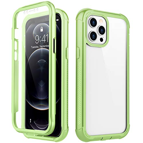 RedPepper Compatible with iPhone 12 Pro Max Case, Built-in Screen Protector Heavy Duty Full Body Shockproof Case (Green)