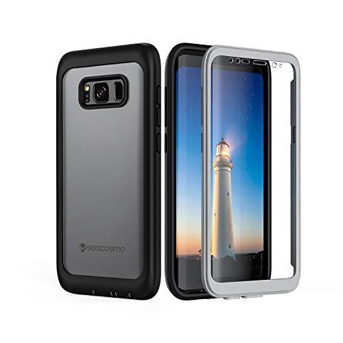 seacosmo Funda S8 Plus, Carcasa Transparente con Protector de Pantalla Integrado Choque Resistente Case para Galaxy S8+ Plus, Negro
