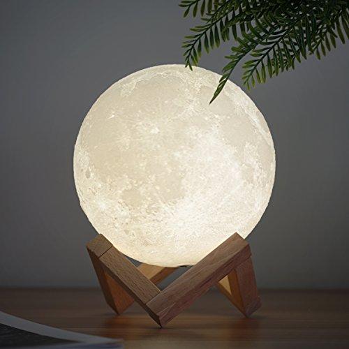 Methun Mond Lampe 3d Druck Kinder Mondlicht Nachtlicht,Dimmbar 2 Farbe USB Lade romantisches Geschenk für Schlafzimmer Geburtstag Weihnachten (7,1 Zoll Mondlicht mit Holzsockel)