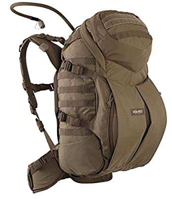 Source Tactical Backpack Double D 45 Liter Cargo and Hydration Backpack - Transporter Flap for Helmet Army Backpack - 3 Liter (100oz) WXP Hydration Bladder Included