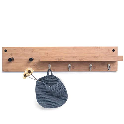 WAJI Antiek houten wand (74 cm) 6 haken, aan de muur gemonteerde sleutelhanger/sleutelhanger, met decoratieve plank, voor woonkamer, badkamer, gang
