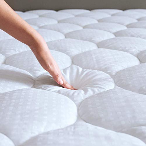 Mattress Pad Queen Mattress Topper - Quilted Fitted Cooling Queen Mattress Pads - Overfilled with Breathable Snow Down Alternative Filling Mattress Cover