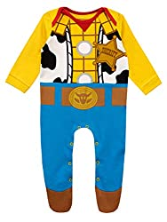 Baby Toy Story Sleepsuit. This all in one is inspired by Woody's Sheriff uniform from the Disney Pixars Toy Story movie, includes the famous Sheriff badge on the chest. The easy popper fastening makes change times easy. A must have for all toy fans! ...