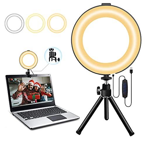Ringlicht, mit Stativ 6 Zoll und Halter, 3-farbig dimmbarem LED-Kameralichtring und 10 Helligkeitsstufen USB-Schnittstelle, verwendet für Echtzeit-Streaming/Video-Blog/YouTube/TikTok/Make-up