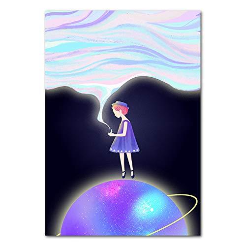 LiMengQi2 Nordische abstrakte Wandkunst Mädchen Gemälde Planet Mond Landschaft Poster Druck für Wohnzimmer Mädchen Schlafzimmer Dekoration (kein Rahmen)