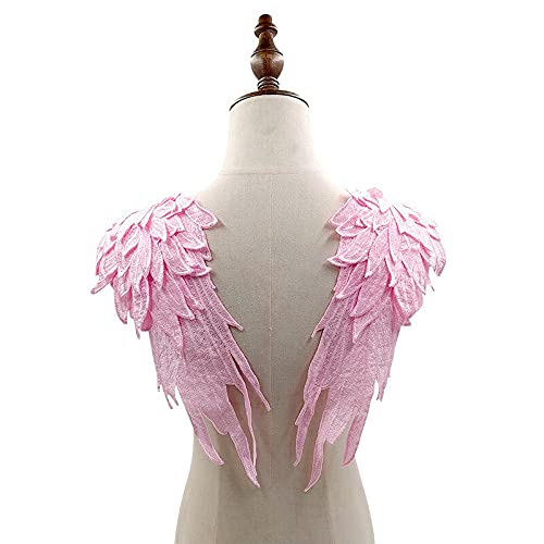 baidicheng Encaje de encaje 3D para mujer, para bordar, vestido de boda, apliques de encaje, parches de tela, costura, manualidades (color: rosa)