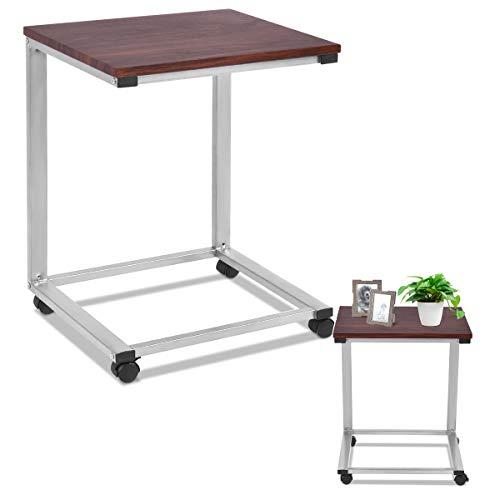 RELAX4LIFE Laptoptisch mit Rollen, Beistelltisch MDF + Stahlgestell, Sofatisch mit platzsparendem Design, fein verarbeiteter Notebooktisch, Pflegetisch mit Moderner Optik, Ablagetisch braun