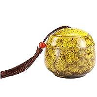 ペット骨壷セラミック骨壷記念火葬猫、犬、小動物犬記念壺 (色 : Yellow)