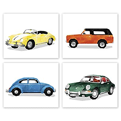 AtoZStudio Baby Car Decor - Set of 4 Prints // Boy Room Wall Art // Baby Shower Car Decoration // Birthday Party // Vintage Cars (8x10, Set 4 Retro Mix)