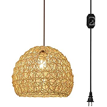 ANYE Rattan Hollow Lampshade Ceiling Lamp with 15ft Plug-in UL On/Off Dimmer Switch Cord Retro Style Bird's Nest Shade Pendant Lamp for Southeast Asia Restaurant Cafe Cabinet Bulb Sold Separately