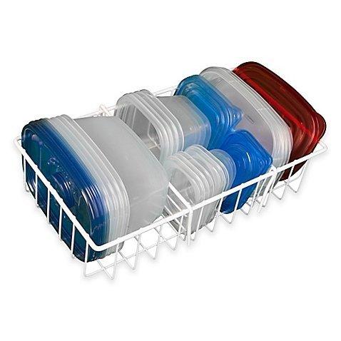 Hoovy White Adjustable Food Storage Organizer [14 W x 4 D x 18 H] | Kitchen Cabinet & Counter Organizer | BPA-Free, Food-Safe Materials | Rust Resistant Organizing Rack (Original Version)