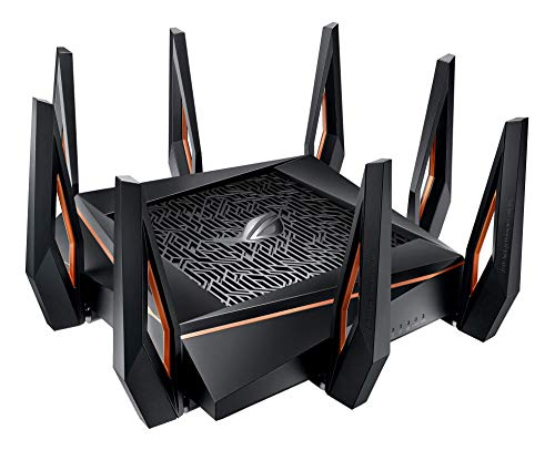 ASUS ROG Rapture WiFi 6 Gaming Router (GT-AX11000) - Tri-Band 10 Gigabit Wireless Router, 1.8GHz Quad-Core CPU, WTFast, 2.5G Port, AiMesh Compatible, Included Lifetime Internet Security, AURA RGB