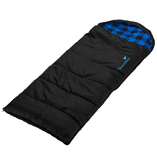 skandika Dundee Junior Kinder-Schlafsack 175x70cm komfortable Deckenform kuscheliges Baumwoll-Flanell-Innenfutter wasserabweisendes Außenmaterial (schwarz/blau-kariert)