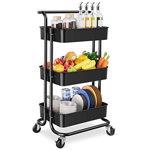 Homemaxs 3 Tier Rolling Utility Storage Cart with Handles and Roller Wheels Craft Cart for Kitchen,...