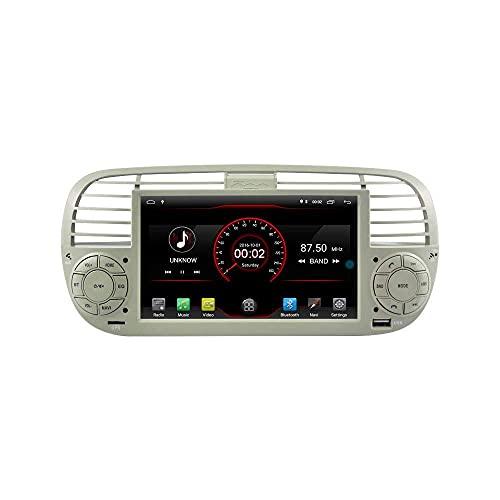 HYCy Android 10 Car Radio Estéreo Navegación GPS Reproductor USB 2G + 16G para 500 2007-2015 Blanco