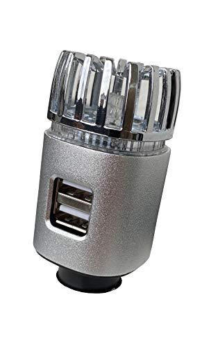 MCalle Purificador de aire para coche, ionizador, Dual USB, color plateado mate