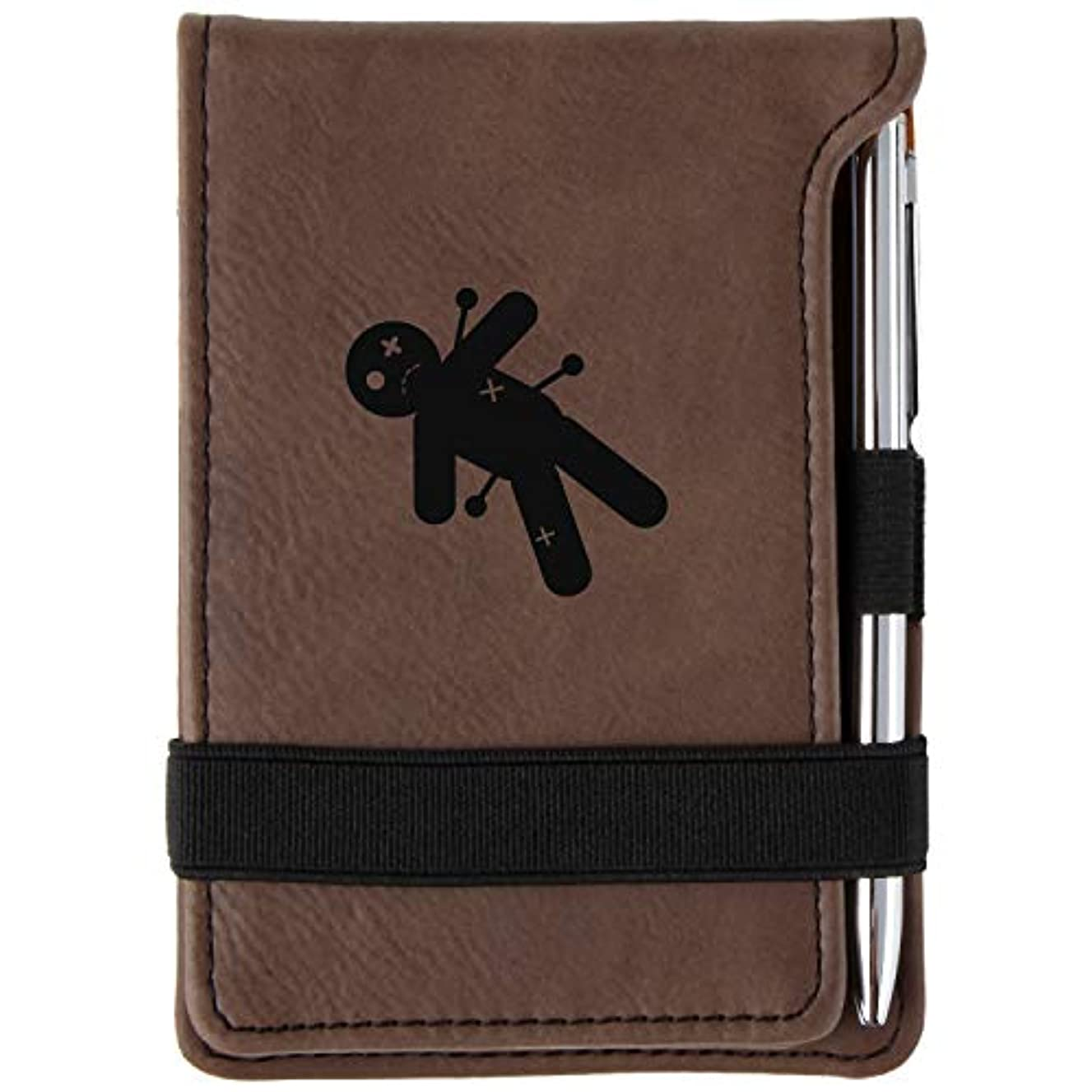 Voodoo Engraved Leather Personalized Mini Notepad With Pen