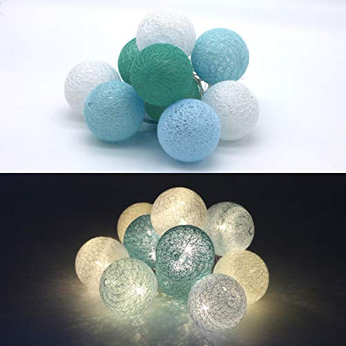 Tronje LED 10 Bolas de Algodón Luces 6cm 4h Temporizador 1,9m Guirnalda de luz Turquesa-Azul cálida funciona con Pilas