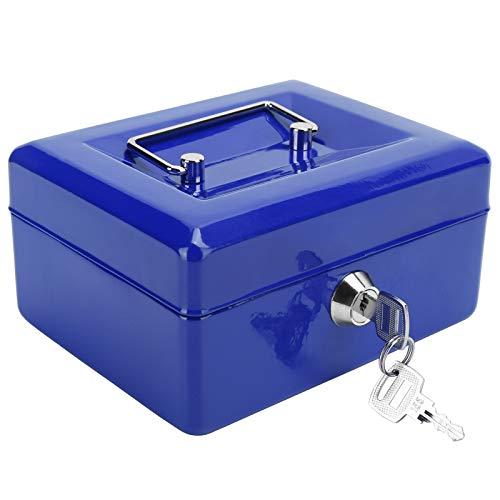 Xirfuni Coffre-Fort, Coffre-Fort verrouillable avec clé Mini Coffre-Fort Portable, pour Bureau à Domicile(Blue)