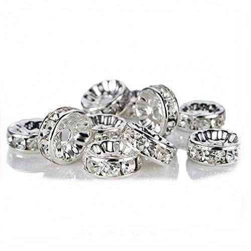AlphaAcc 200X perle di metallo tra Anello distanziale in perline gioielli produzione accessori- 10mm Cristallo