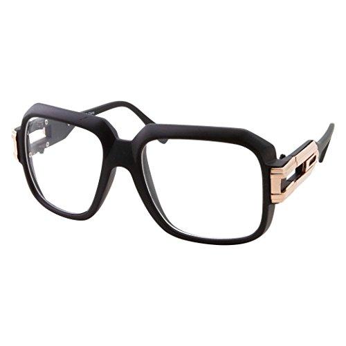 grinderPUNCH Large Oversized Hip Hop Gold Clear Lens Glasses - Men Women Costume or Fashion (Black/Gold)