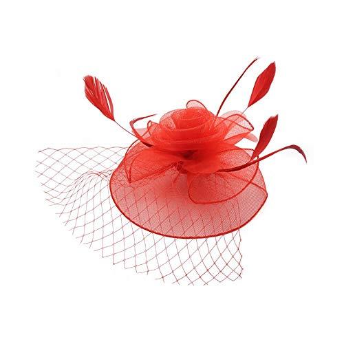 Arielflora-Accessoires Chapeau De Fascinators Chapeaux Fascinators Femmes Tea Party avec Dot Veil Bowknot Clip Cheveux Clip Hat Chapeau de fête pour Cocktail Royal Ascot (Color : Red)