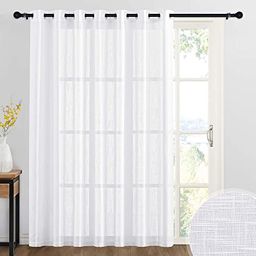RYB HOME Sheer Curtains White - 100 inches Extra Wide Linen Semi Sheer White Backdrop Large Window Curtains for Bedroom Dining Living Room Sliding Glass Door, 100 x 84 inches Long, 1 Panel