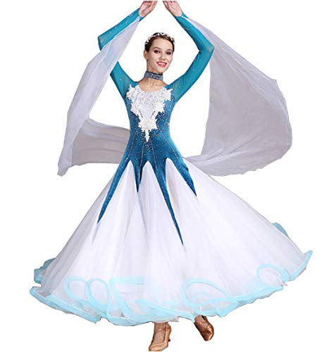 CHAGME pluizige rok naaien door hand moderne jurk Ballroom Tango Waltz Latijn