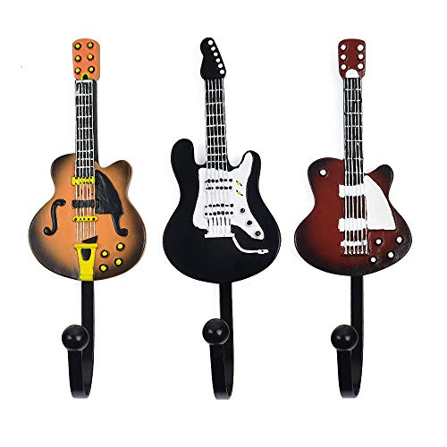 KUNGYO Vintage Guitar Shaped Decorative Hooks Rack Hangers for Hanging Clothes Coats Towels Keys Hats Metal Resin Hooks Wall Mounted Heavy Duty (3-Pack) (Guitar Hook-B)