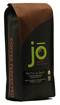 NO FUN JO DECAF  12 oz Organic Decaf Ground Coffee Swiss Water Process Fair Trade Certified Medium Dark Roast 100% Arabica Coffee USDA Certified Organic NON-GMO Chemical & Gluten Free