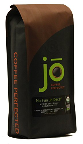 NO FUN JO DECAF: 12 oz, Organic Decaf Ground Coffee, Swiss Water Process, Fair Trade Certified, Medium Dark Roast, 100% Arabica Coffee, USDA Certified Organic, NON-GMO, Chemical & Gluten Free