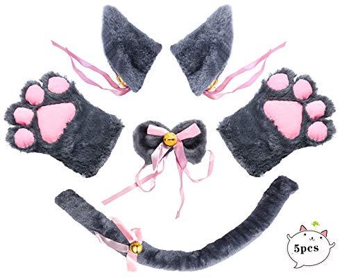 Beelittle Katze Cosplay Kostüm Kätzchen Ohren Schwanz Kragen Pfoten Katze Cosplay Sammlung 5 Pack (Gray1)