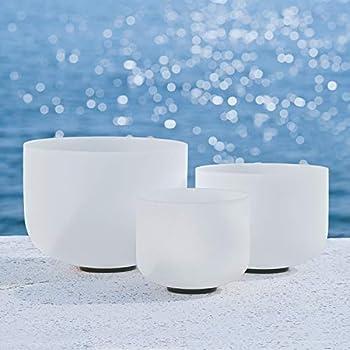 440HZ Sound Healing 8  -12   Set of 3 Crystal Singing Bowls 8   A 10   C 12   F