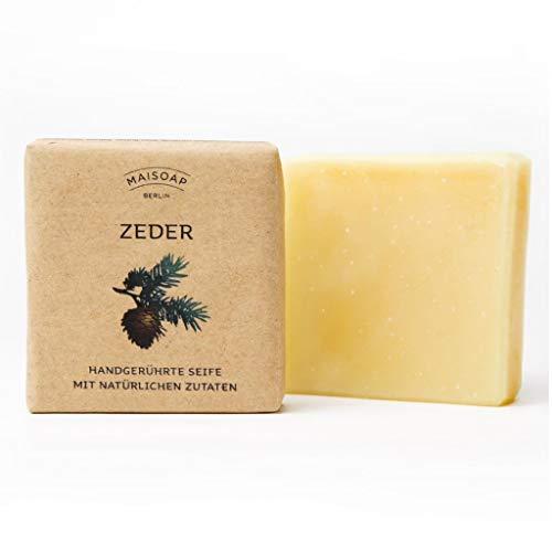 Zeder Naturseife von Maisoap 90g – natürlich BIO Seife zur täglichen Gesichts- und Körperpflege – Naturkosmetik - Duschseife, Haarseife, Handseife (Zeder)