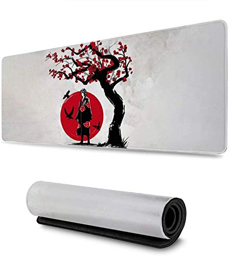 Anime Naruto Akatsuki Uchiha Itachi Gaming Keyboard and Mouse Pad Large Extended Gamer Mouse Mat Non-Slip Rubber Full Desk Mousepad for Computer Laptop Office 11.8 x 31.5 Inch