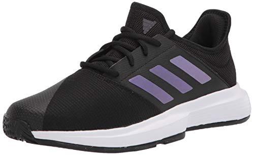 adidas Men's Gamecourt Tennis Shoe, Black/Black/White, 8