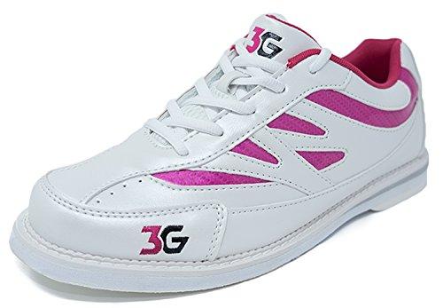 Bowling-Schuhe, 3G Cruze, Damen und Herren, für Rechts- und Linkshänder, 2 Farben, Schuhgröße 36-46 (36,5, Weiß/Pink)