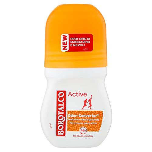 Borotalco, Deodorante Roll-On Active Arancione, Assorbe il Sudore, Senza Alcool, Freschezza Continua, Profumo di Mandarino e Neroli, Deodorante Uomo e Donna - Flacone da 50 ml