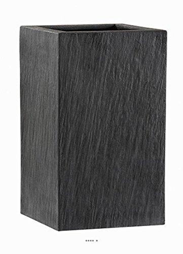 Artificielles.com - Bac Fibres de Verre/Composite Ardoise Ext Carré L37x37xH67cm Graphit - dimhaut: H 67 cm - Couleur: Gris Anthracite